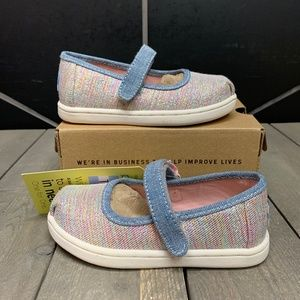 Toms Tiny Mary Jane Pink Multi Twill Glimmer Shoes